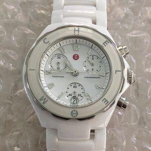 Michele white ceramic watch